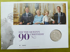 The Queen's 90th Birthday BU first day cover Stamp Sheet and £5 Coin
