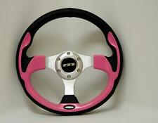 320mm M range semi dished PINK sports racing steering wheel with silver centre