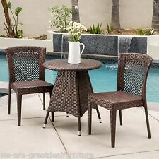 Outdoor Patio 3pc Multibrown All-Weather Wicker Bistro Set