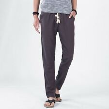 Summer Men's Slim Fit Cotton Linen Trousers Slacks Casual Pants