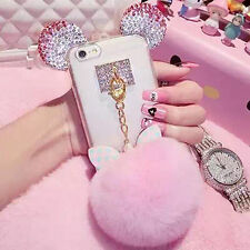3D Cute Luxury Cute Bling Diamond Crystal Rhinestone Ears Clear Strap Case Cover