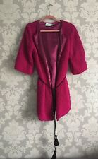 Almost Famous Stunning Hot Pink Fluffy Eyelash Tassel Belt Jacket Uk 10
