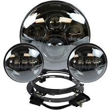 "7"" Black LED Projector Daymaker Headlight + Passing Lights For Harley Touring BL"