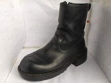 SKECHERS WOMENS BLACK LEATHER ANKLE MOTORCYCLE BOOTS SIZE 7 MEDIUM