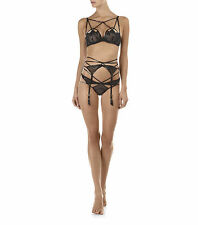 AGENT PROVOCATEUR BLACK JET CAGE BRA 34A/B/C 36A/B/C BRA THONG SIZE 2 SMALL BNWT