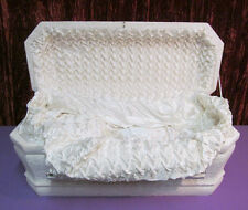 Vintage Funeral Infant Casket Child Cloth Covered Our Darling Coffin Plush Lined