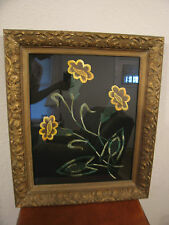 Antique Likely Victorian Era Framed Needlepoint of Flowers Possibly Daffodils