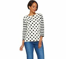 Isaac Mizrahi Polka Dot Stripe Mixed Print 3/4 Slv Cardigan Black M NEW A278049