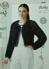 KNITTING PATTERN Ladies Easy Round Neck Cardigans Tinsel Chunky King Cole 4442