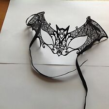 Men's male Masquerade Mask  black  lace bat design made from metal