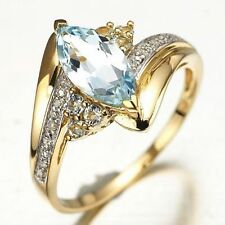 Nobby Size 9 Marquise Cut Halo Aquamarine Fashion 10K Gold Filled Womans Rings