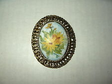 Vintage Goldtone Hand Painted Yellow Flower Ceramic Oval Brooch Pin Pendant