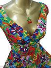 SARAH-P PLUS SIZE FUNKY ABSTRACT FLORAL VINTAGE 50'S SWING DRESS SIZE 20-28