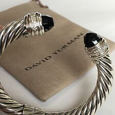 David Yurman Sterling Silver 925 Onyx Diamond 10mm Cable Hinged Cuff Bracelet