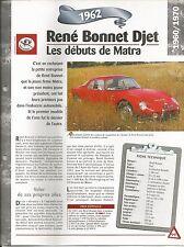 FICHE TECHNIQUE UN SIÈCLE D'AUTOMOBILE - LA RENE BONNET DJET DE 1962