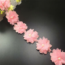 1yd Pink Pearl Chiffon Flower Lace Edge Trim Wedding Ribbon Applique DIY Sewing
