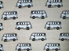 RETRO VW VOLKSWAGON BUS LGE CREAM COTTON FABRIC FQ
