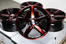 "17"" Red Black Wheels Rims 4 Lugs Escort Accord Civic Insight Prelude Miata Yaris"