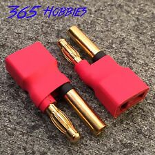 QTY-2 Female Deans to Male 4.0mm Bullet HXT Connector Adapter Lipo 4mm 4.0 mm 4