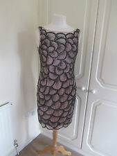 BNWT MIGNON BLACK & BABY PINK HEAVY BEADED TUNIC DRESS SIZE US 6 UK 8 RRP £670