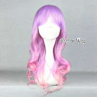Lolita Long Light Purple Mixed Pink Curly Women Girls Cosplay Anime Hair Wig
