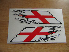 """English George Cross Flag """"ripped"""" style stickers - 150mm decals x2"""