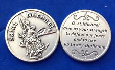 "Rare ARCHANGEL ST MICHAEL Pocket Token Protection1-1/8"" Saint Medal Strength"