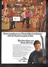 UNITED AIRLINES 1969 SKI LIFT HOLIDAY SOME PEOPLE NEVER PUT ON SKIES AD