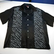SINISTER CLOTHING ZEBRA ANIMAL PRINT BUTTON UP BOWLING SHIRT Sz L Black
