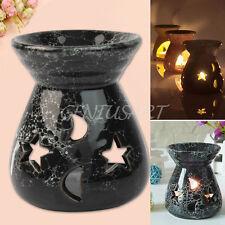 Negro Quemador de Aceite Cerámica Luna Estrella Aromaterapia Fragancia Esencial