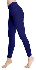 Ladies Deluxe Navy Blue Quality Cotton Legging Full Length Leggings Medium 10-12