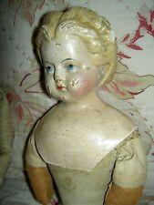 """Antique paper mache 17"""" lb'd: Greiner #3 1858-72 blond papiermache doll orig.TLC"""