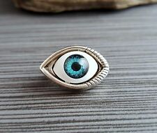 Handmade Antique Silver Eyeball Brooch Pin