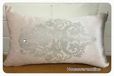 1X Beige Sequins Oblong Cushion Cover 30X50cms