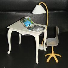 4pcs/Set Office Furniture Accs Table Chair PC Lamp for Barbie Dolls House