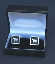 Cow Cufflinks Gift Cuff link Boxed Hand Made Silver Plated Fittings FREE UK POST