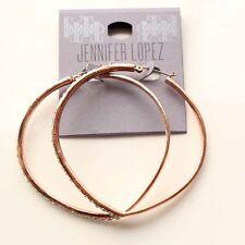 New Jennifer Lopez Rose Gold Tone Heart Hoop Earrings Gift Fashion Women Jewelry