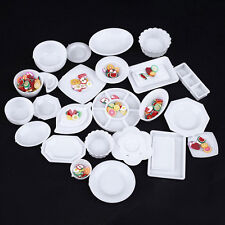33 Pcs Dollhouse Miniature Tableware Plastic Plate Dishes Set Small Food Plates