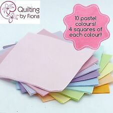 "40 x 5"" Pastel Rainbow PreCut Fabric Charm Squares, 5 inch, 10 Colours, Cotton"