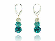 Shamballa 3 Sizes Disco Balls Ocean Blue, Aquamarine & White Drop Earrings E437