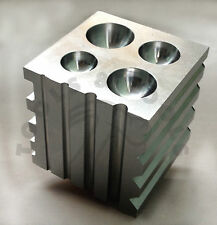 Solid Steel Dapping Block Half Sphere and Cylinder 2 Inch Square 2 in 1 Block