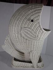 Vintage Large White Wicker Whale Nautical  Whale Pool Towel /Laundry Hamper 27''