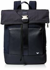 $650 Giorgio Armani Mens BLUE LEATHER TRIM Jet Set Backpack School Briefcase BAG