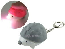 Grey Hedgehog Key Chain Ring with LED Light and Animal Sound