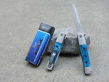 "8.75"" Duck Blue Pearl Italian Style Stiletto Blade Spring Assisted Pocket Knife"