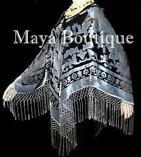 Silver Gray & Black Burnout Velvet Poncho Shawl top With Fringe Maya Matazaro