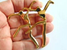 Vtg ABSTRACT MODERNIST Goldtone DANCER PIN Brooch Class School MINTY Jazz