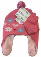 Toddler Kid Ear Flap Beanie Mitten Glove Knit Furry Winter 2 Piece Set Pink Hat