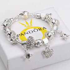 Silver European Charm Bracelet CHRISTMAS Crystal Sterling 925 Chain Beads Charms