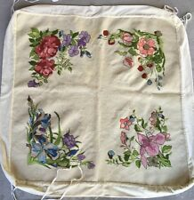 Vintage Needlepoint Tablecloth for Folding Card Table Floral Design Finished